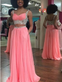 A-Line Straps Sleeveless Floor-Length Lace Chiffon Two Piece Dresses
