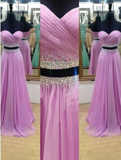 A-Line Sweetheart Sleeveless Floor-Length Beading Chiffon Two Piece Dresses