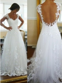 Princess V-neck Sweep/Brush Train Lace Sleeveless Tulle Bridal Dress