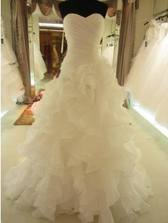 Ball Gown Ruffles Sweetheart Organza Sleeveless Court Train Wedding Dress