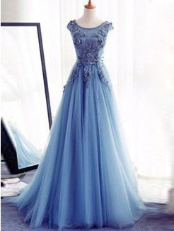 Ball Gown Sleeveless Jewel Sweep/Brush Train Applique Tulle Dresses