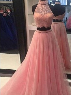 A-Line/Princess Sleeveless High Neck Tulle Lace Floor-Length Two Piece Dresses