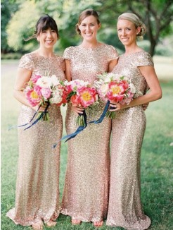 Sheath/Column Bateau Floor-Length Short Sleeves Sequins Bridesmaid Dress