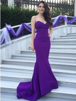 Mermaid Sweetheart Sleeveless Sweep/Brush Train Stretch Crepe Bridesmaid Dress