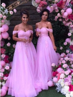 A-Line Off-the-Shoulder Sleeveless Floor-Length Applique Tulle Bridesmaid Dress