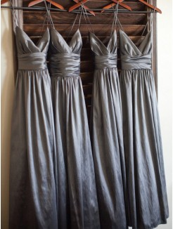 A-Line Spaghetti Straps Sleeveless Floor-Length Taffeta Bridesmaid Dress