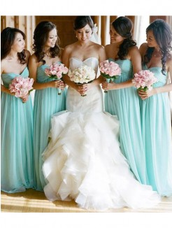A-Line Sleeveless Sweetheart Floor-Length Chiffon Bridesmaid Dress