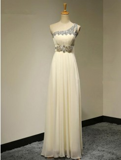 A-Line One-Shoulder Sleeveless Floor-Length Beading Chiffon Bridesmaid Dress