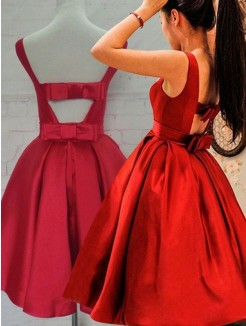 A-Line Sleeveless Scoop Sash/Ribbon/Belt Satin Short/Mini Homecoming Dresses
