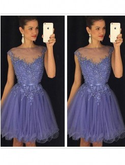 A-Line Sleeveless Scoop Applique Tulle Short/Mini Fashion Dresses