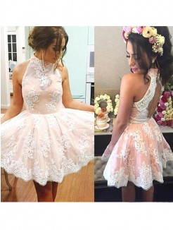 A-Line Sleeveless High Neck Lace Short/Mini Fashion Dresses