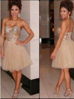 A-Line Sleeveless Sweetheart Sequin Tulle Short/Mini Prom Dresses