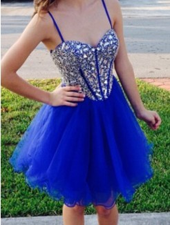 A-Line Sleeveless Sweetheart Beading Tulle Short/Mini Prom Dresses