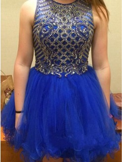 A-Line Sleeveless Scoop Beading Tulle Short/Mini Prom Dresses