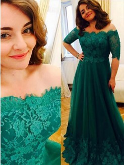 A-Line/Princess Short Sleeves Tulle Off-the-Shoulder Applique Floor-Length Plus Size Dress