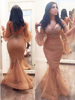 Trumpet/Mermaid 3/4 Sleeves Silk like Satin Off-the-shoulder Beading Floor-Length Plus Size Dress