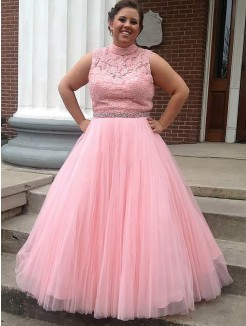 Ball Gown High Neck Tulle Applique Sleeveless Floor-Length Plus Size Dress