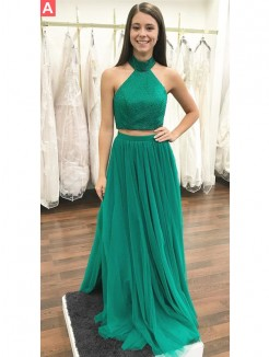 A-Line/Princess Halter Sleeveless Floor-Length Beading Tulle Two Piece Dresses