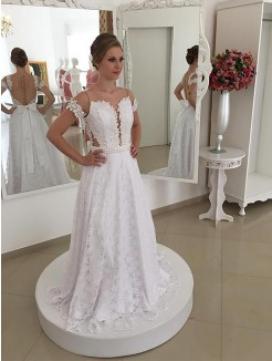A-Line/Princess Scoop Lace Sweep/Brush Train Short Sleeves Wedding Dresses