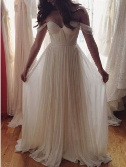 A-Line Sleeveless Off-the-Shoulder Beading Floor-Length Chiffon Gown