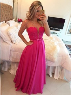 A-Line Scoop Short Sleeves Beading Floor-Length Chiffon Gown