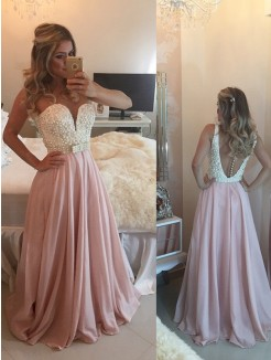 A-Line Sweetheart Sleeveless Pearls Floor-Length Chiffon Gown