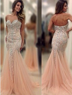 Mermaid Sweetheart Sleeveless Sweep/Brush Train Beading Tulle Dress