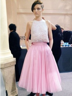 A-Line Scoop Sleeveless Beading Tea-Length Tulle Dress