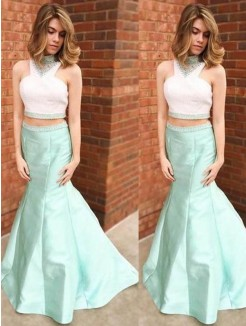 Mermaid High Neck Sleeveless Floor-Length Beading Satin Dress