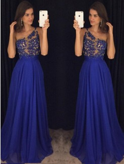 A-Line Sleeveless One-Shoulder Floor-Length Beading Chiffon Gown