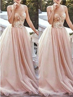 A-Line Sweetheart Sleeveless Sweep/Brush Train Beading Tulle Dress