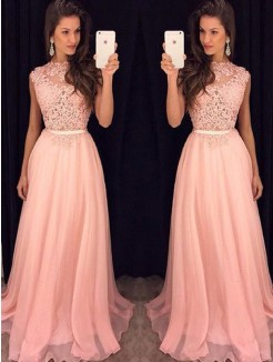 A-Line High Neck Sleeveless Chiffon Floor-Length Dresses