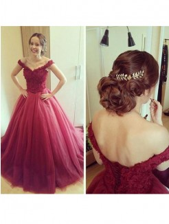 Ball Gown Off-the-Shoulder Applique Sleeveless Court Train Tulle Dress