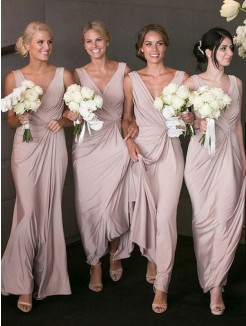 A-Line/Princess V-neck Sleeveless Floor-Length Spandex Bridesmaid Dresses