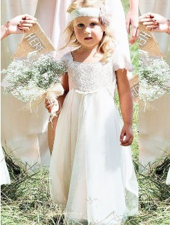 A-line/Princess Square Short Sleeves Lace Floor-Length Chiffon Flower Girl Dresses