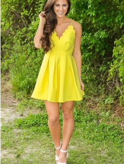 A-Line/Princess Sleeveless V-neck Satin Short/Mini Dresses
