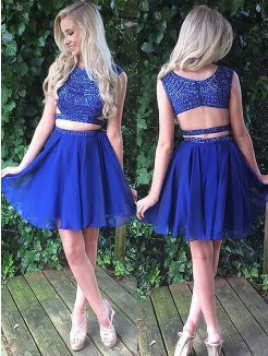 A-Line/Princess Scoop Sleeveless Short/Mini Chiffon Two Piece Dresses