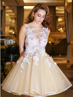 A-Line/Princess Scoop Sleeveless Applique Short/Mini Organza Dresses
