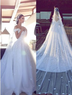Ball Gown Tulle V-neck Sleeveless Chapel Train Wedding Dresses