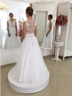 Trumpet/Mermaid Sleeveless Lace Scoop Floor-Length Wedding Dresses