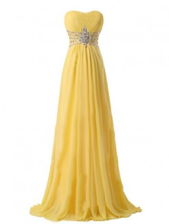 Yellow A-line/Princess Strapless Sleeveless Beading Floor-length Chiffon Dress