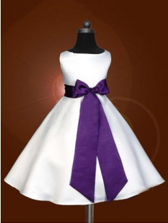 A-line/Princess Scoop Sleeveless Floor-length Satin Nice Flower Girl Dress With Bowknot