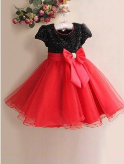 A-line/Princess Short Sleeves Scoop Bowknot Floor-length Organza Flower Girl Dresses Canada