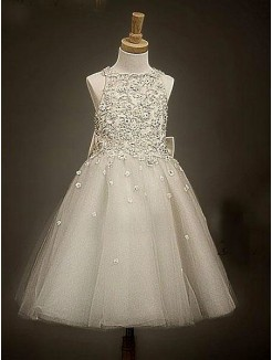 A-line/Princess Scoop Sleeveless Ankle-length Organza Flower Girl Dress With Bowknot