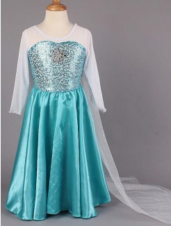 A-line/Princess Scoop Long Sleeves Floor-length Satin Flower Girl Dress With Beading