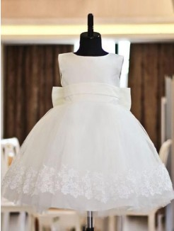 A-line/Princess Organza Scoop Sleeveless Floor-length Lace Flower Girl Dresses 2015
