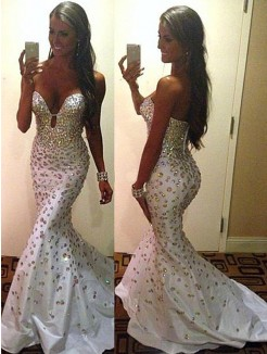 Sexy Trumpet/Mermaid Sweetheart Sleeveless Beading Court Train Satin Dress