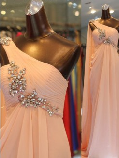A-Line/Princess One-shoulder Sleeveless Floor-length Ruffles Chiffon Dress