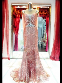 Shine A-line/Princess Straps Sleeveless Beading Floor-length Sequins Dress