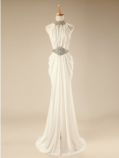 A-line/Princess Sleeveless High Neck Beading Sweep/Brush Train Chiffon Dress